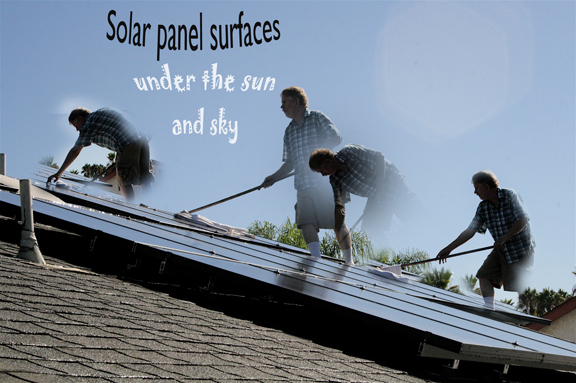 Washing solar panels...